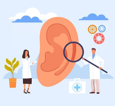 Ear examination ill searching in doctor office. Vector graphic design illustration