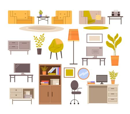 Modern furniture isolated set. Vector graphic design illustration Çizim