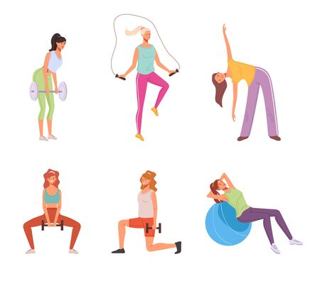 Home sport exercise woman isolated set. Vector graphic design illustration Standard-Bild - 145774730