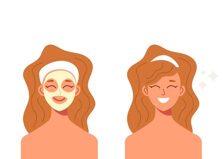 Woman doing beauty procedure mask. Vector graphic design illustration