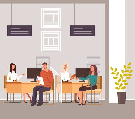 People taking credit loan financial consultation in bank office. Vector graphic design illustration