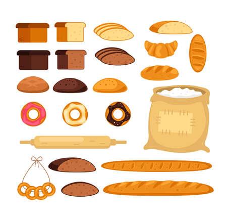 Bakery bread cake isolated set. Vector flat graphic design cartoon illustration