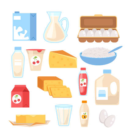 Dairy milk products food isolated set. Vector flat graphic design cartoon illustration