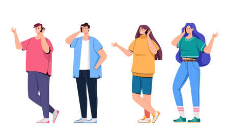 People man woman characters phone call isolated set. Vector flat graphic design cartoon illustration