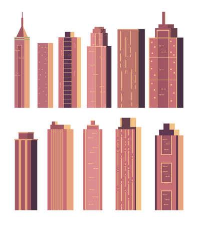 Modern skyscraper building isolated set. Vector flat graphic design cartoon illustration Illustration