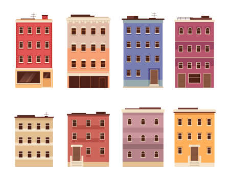 Building city town isolated set. Vector flat graphic design cartoon illustration