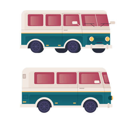 Mini bus transportation isolated set. Vector flat graphic design cartoon illustration Illustration