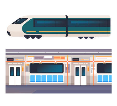 Train inside and outside interior concept isolated set. Vector flat graphic design cartoon illustration