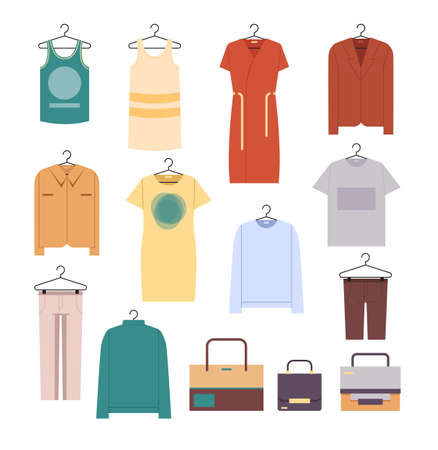 Male and female clothes isolated set. Vector flat graphic design cartoon illustration