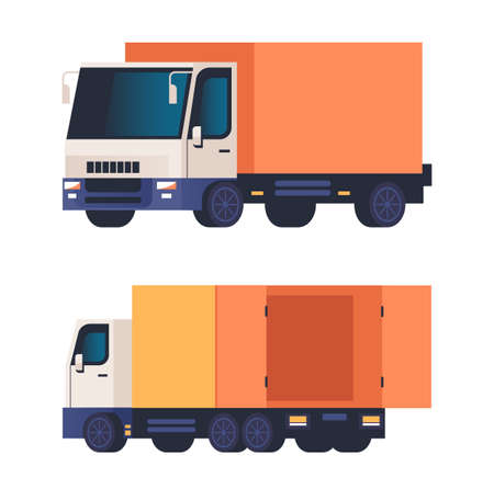 Cargo truck isolated on white background set. Vector flat graphic design cartoon illustration