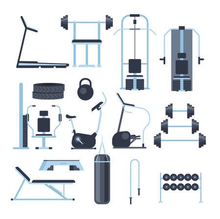 Gym sport equipment isolated set. Vector flat graphic design cartoon illustration