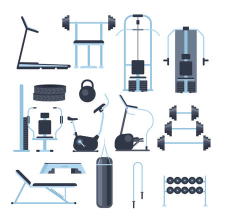Gym sport equipment isolated set. Vector flat graphic design cartoon illustration