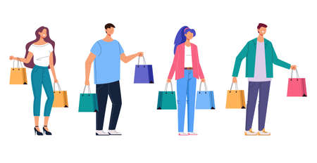 People man woman with shopping bag isolated set. Vector flat graphic design cartoon illustration