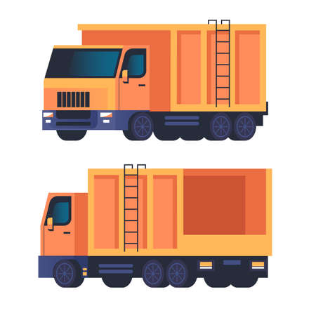 Truck garbage car machine isolated set. Vector flat graphic design cartoon illustration Illustration