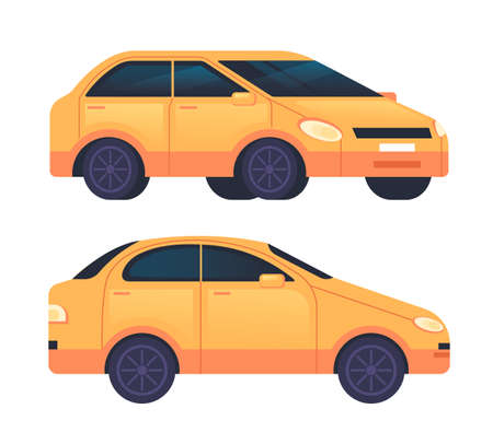 Yellow car taxi isolated set. Vector flat graphic design cartoon illustration