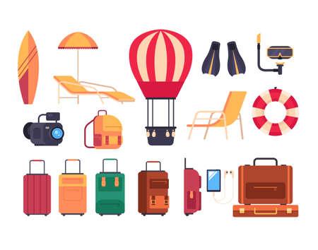 Summer travel tourism isolated set. Vector flat graphic design cartoon illustration Illustration