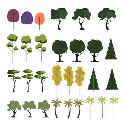 Tree forest isolated on white background set. Vector flat graphic design cartoon illustration Illustration
