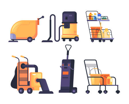 Cleaning washer machine equipment isolated set. Vector flat graphic design cartoon illustration