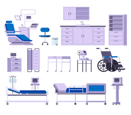 Medicine hospital equipment furniture isolated set. Vector flat graphic design cartoon illustration