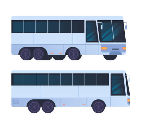 Bus transportation isolated set. Vector flat graphic design cartoon illustration