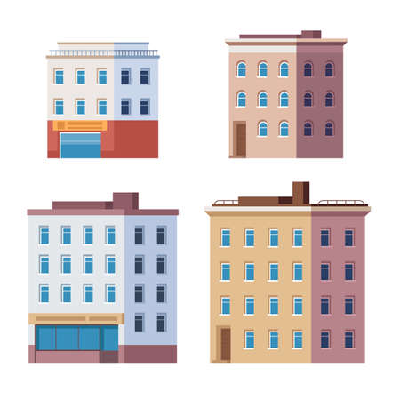 Building city house town isolated set. Vector flat graphic design cartoon illustration