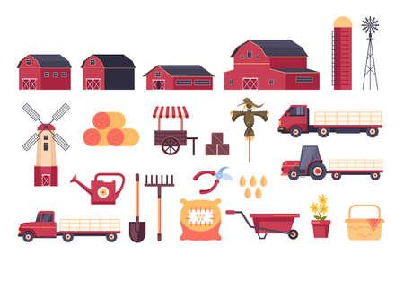 Farm tools equipment element isolated set. Vector flat graphic design cartoon illustration Banque d'images - 156077049