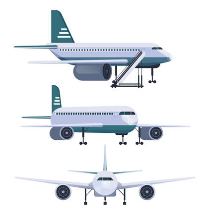 Airplane different view isolated set. Vector flat graphic design cartoon illustration