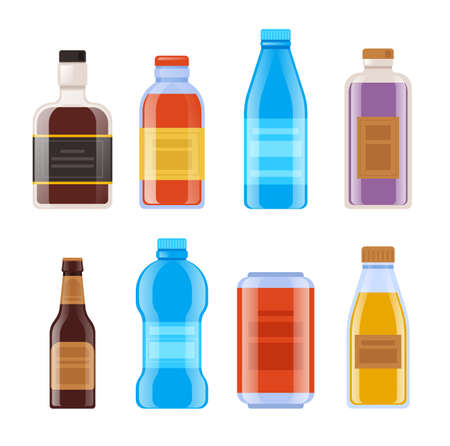 Bottle template mock isolated set. Vector flat graphic design cartoon illustration Illustration