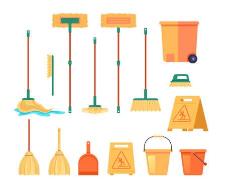 Cleaning tools equipment isolated set. Vector flat graphic design cartoon illustration Illustration