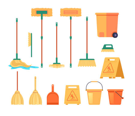Cleaning tools equipment isolated set. Vector flat graphic design cartoon illustration Illustration