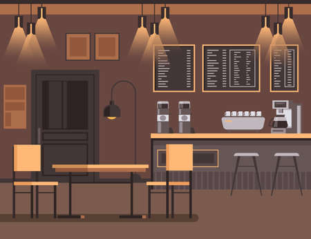 Bar cafe interior furniture concept. Vector flat graphic design illustration Banque d'images - 156507878
