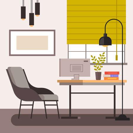 Home freelance workplace interior furniture concept. Vector flat graphic design illustration