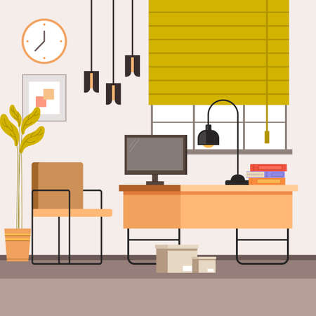Home freelance workplace interior furniture concept. Vector flat graphic design illustration