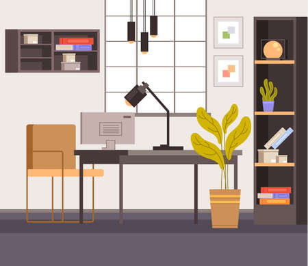 Home workplace interior furniture concept. Vector flat graphic design illustration Illustration