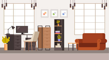 Office interior room furniture concept. Vector flat graphic design illustration