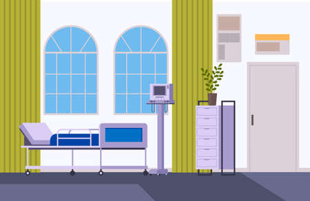 Medicine surgery doctor office interior furniture concept. Vector flat graphic design illustration