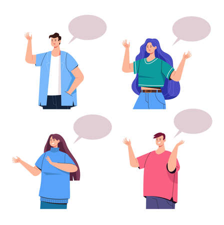 People character talk isolated white background set. Vector flat graphic design illustration