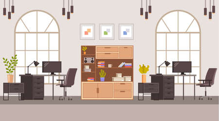 Office interior furniture concept. Vector flat graphic design illustration Banque d'images - 156507601