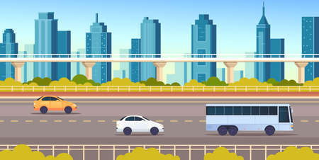 City town road highway transport horizontal concept vector flat graphic design flat illustration