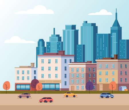 City town building skyscraper concept vector flat graphic design flat illustration