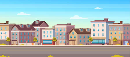 City town house street buildings horizontal concept vector flat graphic design flat illustration Illustration