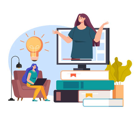 Online E learning internet education library tutorial concept vector flat graphic design flat illustration