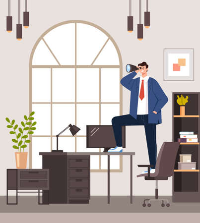 Businessman office worker character looking successful future graphic design flat illustration