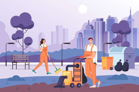 People man woman workers cleaning park. Clean service concept vector flat graphic design flat illustration
