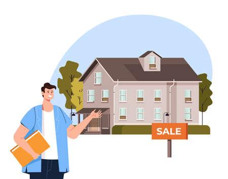House sale rent agent presentation concept vector flat graphic design flat illustration