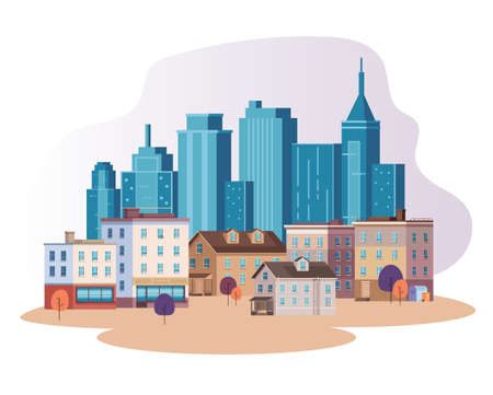 City town building skyscraper concept vector flat graphic design flat illustration Illustration