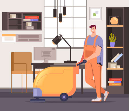 Office cleaning service workers concept vector flat graphic design flat illustration