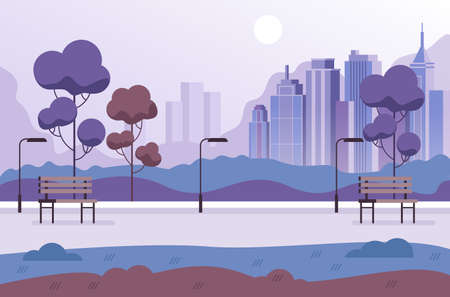Empty nobody public park concept vector flat graphic design flat illustration Illustration