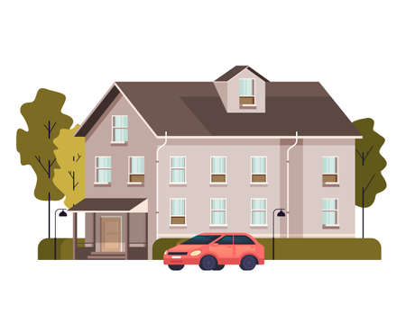 Single isolated on white background house concept vector flat graphic design flat illustration Banque d'images - 157488502
