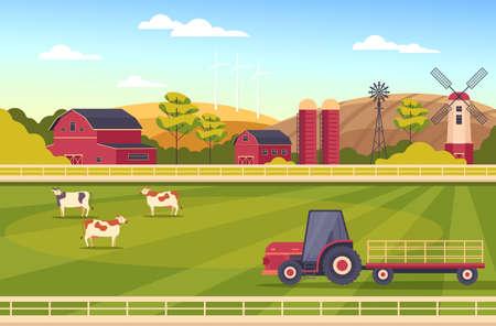 Farm landscape farmland rural scene concept vector flat graphic design flat illustration